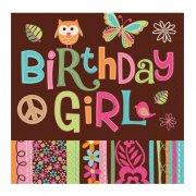 16 tovaglioli Peace and Love Birthday Girl