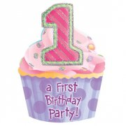 8 inviti First Birthday Rosa