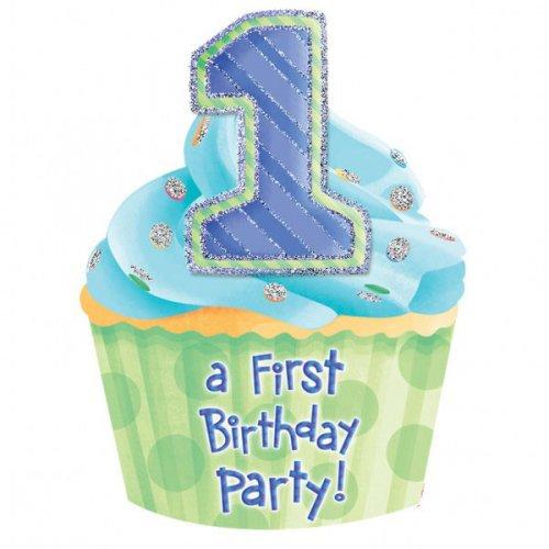 8 Inviti First Birthday Azzurro