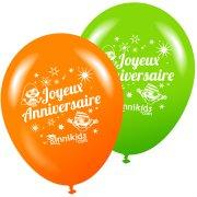 8 Palloncini Annikids Buon Compleanno Verde-Arancione