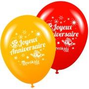 8 Palloncini Annikids Buon Compleanno Giallo-Rosso