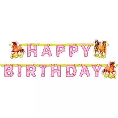 Ghirlanda lettere Happy Birthday Cavallo