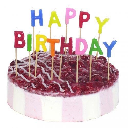 13 Candele Lettere Happy Birthday da attaccare (8 cm)