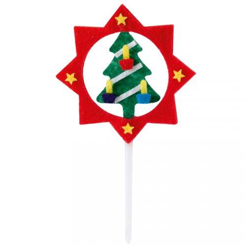 4 stuzzicadenti stelle e alberi di Natale in feltro