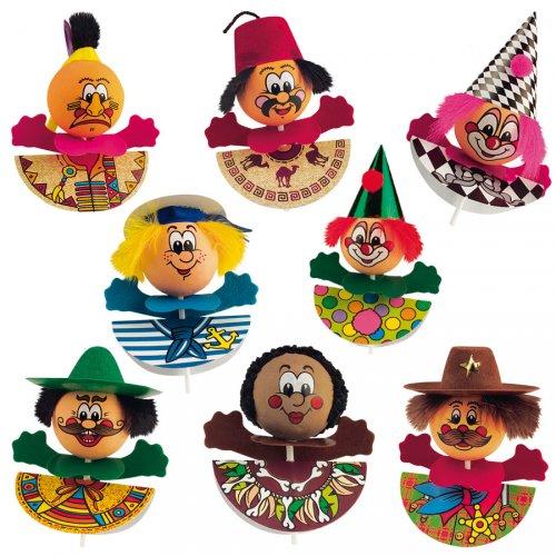 4 figurine Carnevale su stuzzicadenti