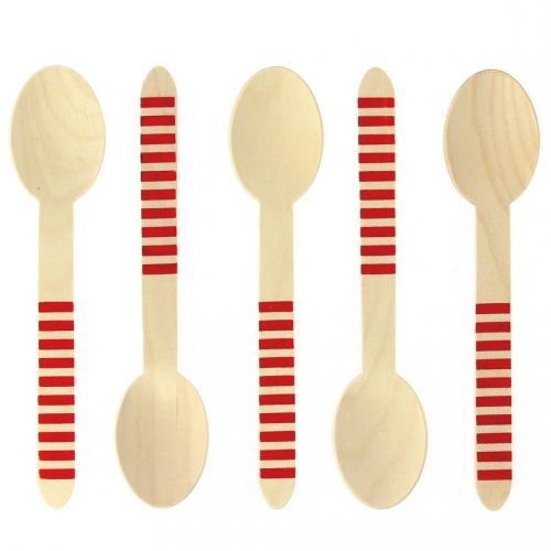 10 Cucchiai di legno a righe rosse - Biodegradabile