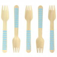 10 Forchette di legno a righe blu - Biodegradabile