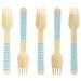 10 Forchette di legno a righe blu - Biodegradabile. n°1