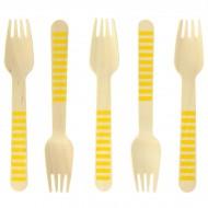 10 Forchette di legno a righe gialle - Biodegradabile