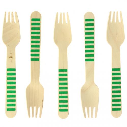 10 Forchette di legno a righe verdi - Biodegradabile