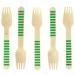 10 Forchette di legno a righe verdi - Biodegradabile. n°1