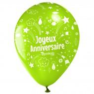 10 Palloncini Buon compleanno Annikids - Verde lime
