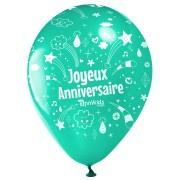 10 Palloncini Buon compleanno Annikids - Verde menta
