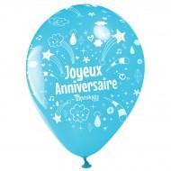 10 Palloncini Buon compleanno Annikids - Blu cielo