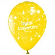 10 Palloncini Buon compleanno Annikids - Giallo