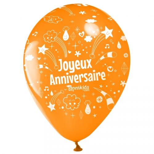 10 Palloncini Buon compleanno Annikids - Arancione