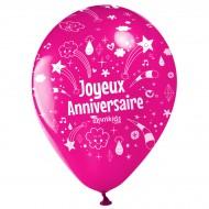 10 Palloncini Buon compleanno Annikids - Rosa fucsia