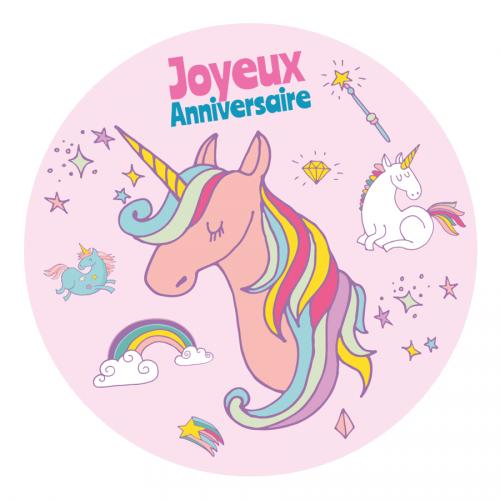 Disco di zucchero Unicorno arcobaleno (19 cm)