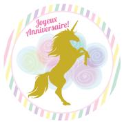 Disco di zucchero Unicorno Oro (19 cm)