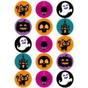 15 dischi di zucchero di Halloween - 50 mm