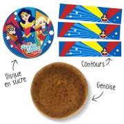 Kit torta Super Hero Girls - Pan di spagna cacao