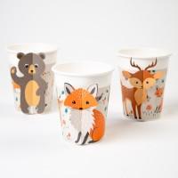 Contiene : 1 x 6 Bicchieri Animali della foresta - Compostabile