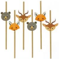 Contiene : 1 x 6 Cannucce di carta Animali della foresta - Riciclabile