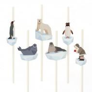 6 Cannucce di carta Animali Polari - Riciclabile