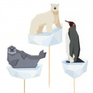 Cake Toppers Animali Polari - Riciclabile