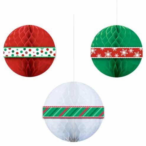 3 palle di carta di Natale in 3D