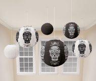 6 lanterne Halloween carta bianco/nero