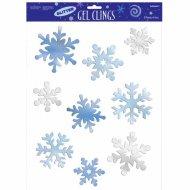 9 decorazioni per finestra Fiocchi di neve glitterati