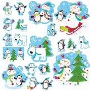 20 decorazioni murali Pupazzo di neve felice glitterate