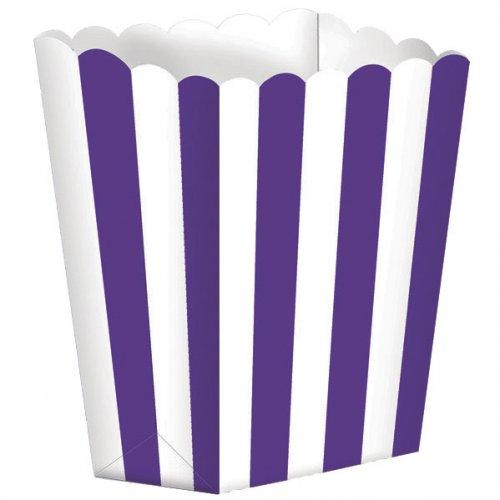 5 vasetti a righe Bianche/Viola