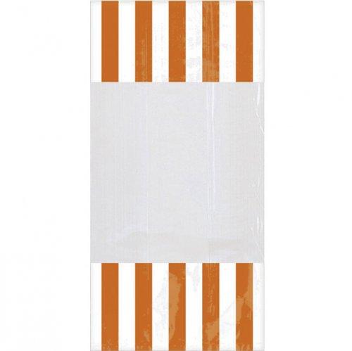 10 sacchetti per caramelle a righe Bianche/Arancioni