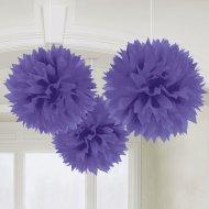 3 palline di carta fiori viola