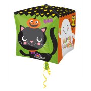 Palloncino Cubo piatto Happy Halloween