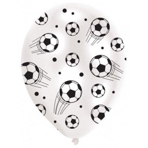 6 Palloncini Football Nero e Bianco