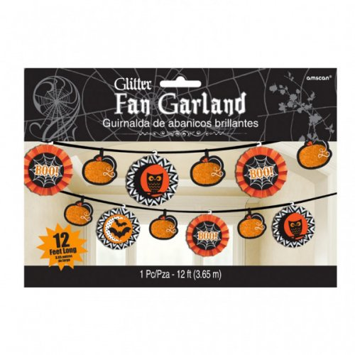 Ghirlanda Halloween Boo arancione e nero