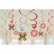 12 Festoni a Spirale con Bastoncini di Natale