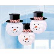 3 Lanterne di Carta Pupazzo di Neve (24 cm)