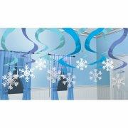 15 Festoni a spirale Fiocchi blu ghiaccio