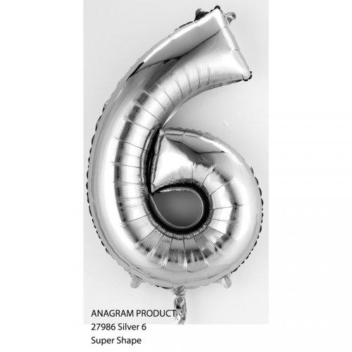 Palloncino Numero 6 Argento (35 cm)