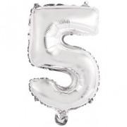Palloncino Numero 5 Argento (33 cm)