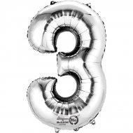 Palloncino Numero 3 Argento (33 cm)