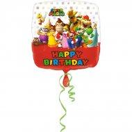 Palloncino piatto Mario Happy Birthay (43 cm)