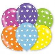 6 Palloncini Stelle 6 colori rainbow (27 cm)