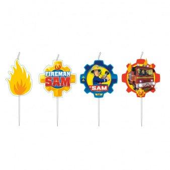 4 piccole candele Sam il pompiere Fireman (7 cm)