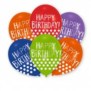 6 Palloncini Happy Birthday Pois