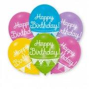 6 Palloncini Happy Birthday Ghirlanda